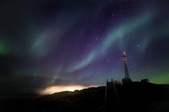 Północnych świateł Nuuk niedaleki miasto Zdjęcie Stock