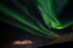 Północnych świateł Nuuk niedaleki miasto Zdjęcia Stock