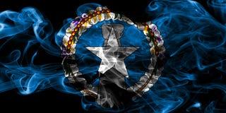 Północnych Mariana wysp dymu flaga, wspólnota narodów Zlany zdjęcia stock