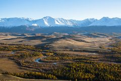 północy grań Altai góry i Kuraiskaya step, Altai republika Obrazy Stock