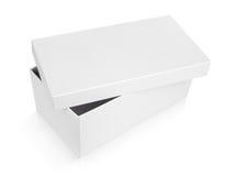 Półotwarty obuwiany pudełko na bielu Obrazy Royalty Free
