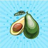Półtora avocados na błękitnym tle, linie, kropki również zwrócić corel ilustracji wektora Ręka rysująca wystrzał sztuki stylem Ec ilustracji