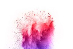 pó abstrato fundo splatted Explosão colorida do pó no fundo branco Nuvem colorida A poeira colorida explode imagem de stock royalty free