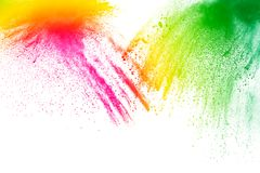 Pó colorido abstrato splatted no fundo branco Fotos de Stock Royalty Free
