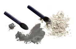 Pó e escova cosméticos Fotografia de Stock