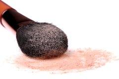 Pó e escova de face Imagem de Stock