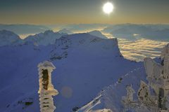 półmrok góry Zdjęcia Royalty Free