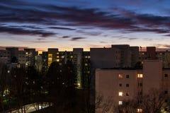 Półmrok Monachium, Neuperlach Zdjęcia Stock