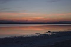 Półmroku niebo przy Wielkim Salt Lake Obrazy Royalty Free