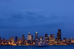 półmroku Seattle linia horyzontu Fotografia Royalty Free