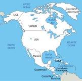 Północna Ameryka - mapa Fotografia Stock