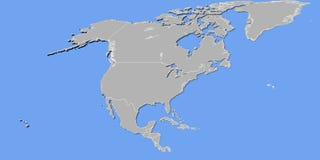 Północna Ameryka mapa w 3D Obraz Stock
