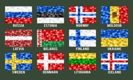 Północne & Wschodnie Europa niskie poli- flaga Fotografia Royalty Free