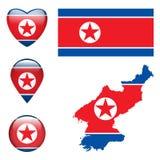 Północnego Korea flaga Obrazy Royalty Free