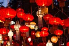 Północni Tajlandzcy Stylowi lampiony przy Loi Krathong festiwalem Fotografia Stock