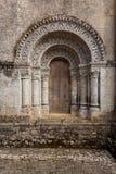 Północny drzwi Notre-Dame De l'Assomption De Feniouxchurch, XII Zdjęcia Royalty Free