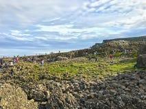 Północny - Ireland oceanu sceneria, giganta droga na grobli Obrazy Royalty Free