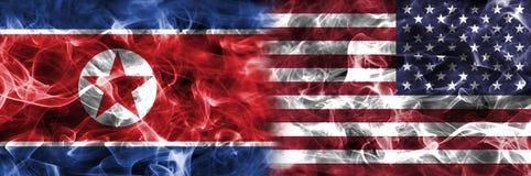 Północny Korea i Stany Zjednoczone Ameryka dym zaznaczamy Zdjęcie Stock