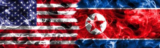 Północny Korea i Stany Zjednoczone Ameryka dym zaznaczamy Fotografia Stock