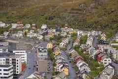 Północny Norwegia, widok Hammerfest miasto zdjęcie stock