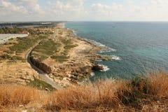 Północny punkt Izrael i Rosh Hanikra morze rezerwa Zdjęcia Royalty Free