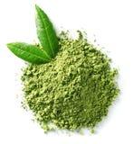 Pó verde do chá do matcha fotografia de stock
