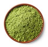 Pó verde do chá do matcha foto de stock