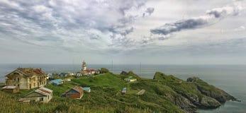 Półwysep Gamow i latarnia morska Zdjęcia Royalty Free