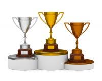 Pódio com o copo do troféu no fundo branco 3D isolado Imagens de Stock Royalty Free