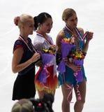 Pódio - figura patinagem das senhoras foto de stock royalty free
