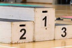 Pódio para o vencedor, sucesso na atividade do esporte Imagens de Stock
