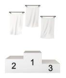 Pódio, vencedores, com bandeiras em branco, trajeto de grampeamento Imagem de Stock Royalty Free