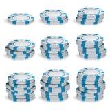 Póker blanco Chips Stacks Vector conjunto 3D Imágenes de archivo libres de regalías