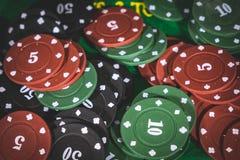 Póker Chips Multi Color Fotografía de archivo libre de regalías
