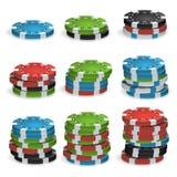 Póker Chips Stacks Vector plástico Foto de archivo libre de regalías