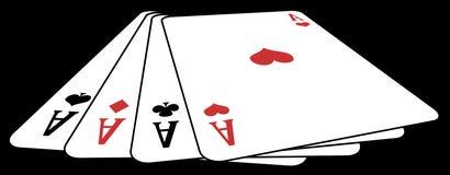 Póker de as de arriba Fotografía de archivo libre de regalías