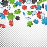 Póker de juego Chips Rain Vector Casino realista Chips Explosion Falling Down Fondo transparente Riqueza del símbolo Imagen de archivo libre de regalías
