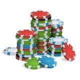 Póker de juego Chips Stacks Vector realista Fotografía de archivo libre de regalías