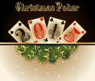 Póker de la Navidad 2015 Años Nuevos feliz Foto de archivo libre de regalías