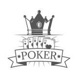Póker del emblema del vintage del vector, de la etiqueta, de la insignia y del logotipo con la corona y de las tarjetas del siste Imágenes de archivo libres de regalías