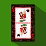 Póker del ` s del Año Nuevo de la tarjeta Ilustración ilustración del vector