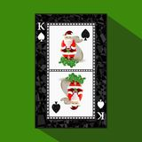 Póker del ` s del Año Nuevo de la tarjeta Ilustración stock de ilustración