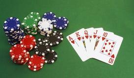 Póker - escalera real Fotos de archivo
