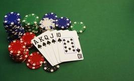 Póker - escalera real Imagen de archivo libre de regalías