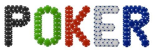 Póker escrito con las virutas de póker Foto de archivo libre de regalías