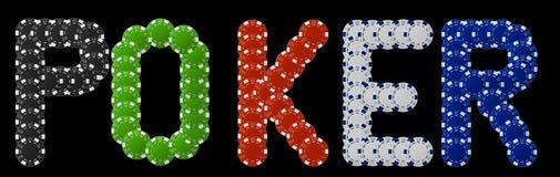Póker escrito con las virutas de póker Imagenes de archivo