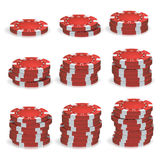 Póker rojo Chips Stacks Vector sistema realista 3D Fotos de archivo libres de regalías