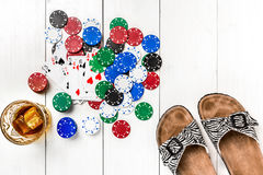 Póker social del blog de los posts medios Maqueta de la disposición de la plantilla de la bandera para el casino en línea Tabla b imágenes de archivo libres de regalías