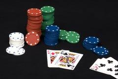 Póker una mano de los pares Fotografía de archivo
