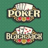 Póker y Black Jack del logotipo del vector Imagen de archivo libre de regalías